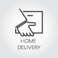 Image of the hand holding envelope. Icon of home delivery, Fast and convenient service concept