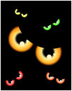 Image of happy halloween spooky background flat design vector illustration of invitation card with scary bloody eyes eyeballs Stock Images