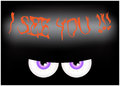 Image of Happy Halloween spooky background Flat design. Vector illustration of invitation card with scary bloody eyes, eyeballs wi