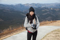 Image of Hiker portrait. Female hiking woman happy and smiling with her c Royalty Free Stock Photo