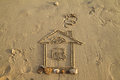 Image of the house on sand Royalty Free Stock Image