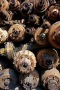 Pile of Rusted Axels and Drive Shafts Royalty Free Stock Photo