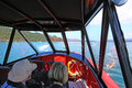 Image of the interior of small motor boat Royalty Free Stock Photo