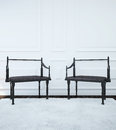Image of the interior with two chairs in the Gothic style. Royalty Free Stock Photo