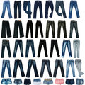The image of jeans trousers, shorts, the skirts. Stock Photography