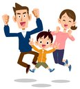 stock image of  The image of Jumping 3 people family