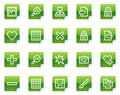 Image library web icons, green sticker series Royalty Free Stock Photos