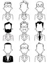 Line drawings of various upper body of anonymous men in suits Royalty Free Stock Photo