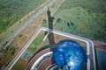 Image looking down brasilia digital television tower looking top viewing platform towards lower platform designed oscar niemeyer Royalty Free Stock Photography