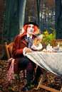 Mad Hatter at the Tea Party looking surprised Royalty Free Stock Photo