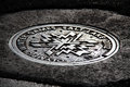 Image of a man hole cover in salt lake city utah featuring the winter olympic games logo Royalty Free Stock Photos
