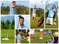 Image mosaic of golf golfing with handsome young golfer on course Royalty Free Stock Photo