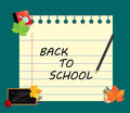 Image of note, card, paper, with sign back to school and school supplies, equipment, accessories, items, tools. Royalty Free Stock Photo