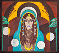 Image of an oriental holy and spiritual woman portrait painted on wood ella beaming with love after weeks deep continous Royalty Free Stock Image
