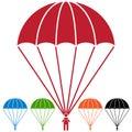 Paratrooper Parachute Skydiver Icon Set Royalty Free Stock Photo