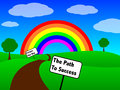 Image path to success fortune end rainbow Royalty Free Stock Image