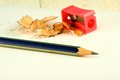 Image of pencil sharpener, pencil and shavings Royalty Free Stock Photo