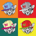 Image Portrait of cheetah in the glasses and in hip-hop hat. Pop art style vector illustration.