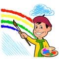 Сheerful artist draws a rainbow among the clouds. Royalty Free Stock Photo