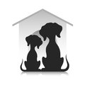 Silhouettes of dogs against the background of a dog lodge.
