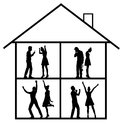 Image presenting the house full of happines and misery argument Royalty Free Stock Photo
