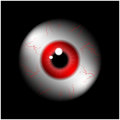 Image of realistic human eye ball with red pupil, iris. Vector illustration  on black background. Royalty Free Stock Photo