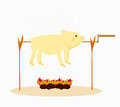 Image of a roasted pig. Stock Photography