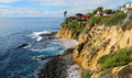 Image shows spectacular cliff side homes just north of crescent bay in laguna beach california view is from the public accessed Stock Image