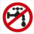 Image sign of the ban on the tap water Royalty Free Stock Photo