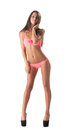 Image of slim leggy model posing in pink bikini Stock Photos