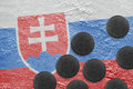 Image of the Slovak flag on the ice and washers