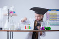 Image of smart little girl mixes reagents in lab close up Royalty Free Stock Photography
