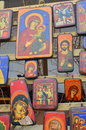 Image of some hand painted icons at a religion fair Stock Photography