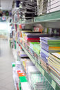 The image of stationery lie on shelf Stock Image
