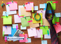 Image of sticky notes on cork bulletin board Royalty Free Stock Photo