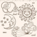 Image of the sun moon wind and clouds hand drawing imitation old engravings Stock Images