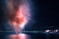 Image taken on the th august in nice france showing the fireworks show organised on the sea el negresco and the famous nice casino Royalty Free Stock Photos