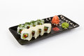 Image of tasty sushi set with vegetables Royalty Free Stock Photo