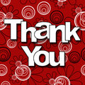 Image thank you text red black white floral background Royalty Free Stock Photo