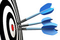 An image of three blue dart arrows Stock Image