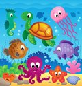 Image with undersea theme eps vector illustration Stock Photos