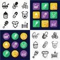 Baby Stuff All in One Icons Black & White Color Flat Design Freehand Set Royalty Free Stock Photo