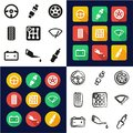 Car All in One Icons Black & White Color Flat Design Freehand Set Royalty Free Stock Photo