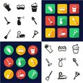 Cleaning All in One Icons Black & White Color Flat Design Freehand Set Royalty Free Stock Photo