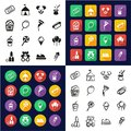 Fair All in One Icons Black & White Color Flat Design Freehand Set