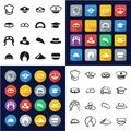 Hat Set 1 All in One Icons Black & White Color Flat Design Freehand Set Royalty Free Stock Photo