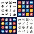 Motorcycle Club All in One Icons Black & White Color Flat Design Freehand Set Royalty Free Stock Photo