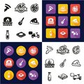 Pizza All in One Icons Black & White Color Flat Design Freehand Set Royalty Free Stock Photo