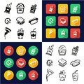 Snack All in One Icons Black & White Color Flat Design Freehand Set