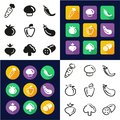 Vegetable All in One Icons Black & White Color Flat Design Freehand Set Royalty Free Stock Photo